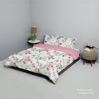 King Rabbit Set Bed Cover & Sprei Sarung Bantal Extra King Motif Rosella Pink Uk 200x200x40 cm