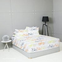 King Rabbit Set Sprei Sarung Bantal Queen Motif Peloton Orange Uk 160x200x40 cm