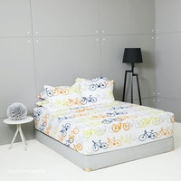 King Rabbit Set Sprei Sarung Bantal King Motif Peloton Orange Uk 180x200x40 cm