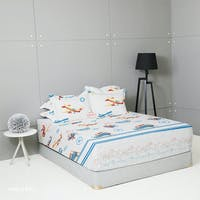 King Rabbit Set Sprei Sarung Bantal Full Motif Airbus Biru Uk 120x200x40 cm