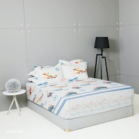 King Rabbit Set Sprei Sarung Bantal Extra King Airbus Biru Uk 200x200x40 cm