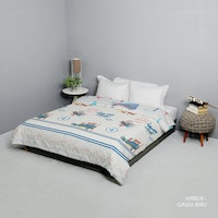 King Rabbit Bed Cover Double Motif Airbus Biru Uk 230x230 cm