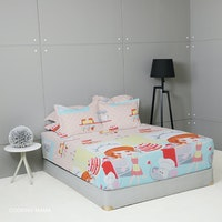 King Rabbit Set Sprei Sarung Bantal Queen Motif Cooking Mama Biru Uk 160x200x40 cm
