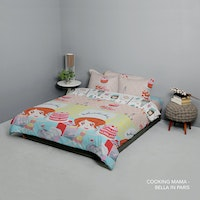 King Rabbit Set Bed Cover & Sprei Sarung Bantal Extra King Motif Cooking Mama Biru Uk 200x200x40 cm