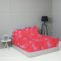 King Rabbit Set Sprei Sarung Bantal Extra King Iris Mini Merah Uk 200x200x40 cm
