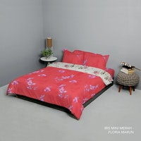 King Rabbit Set Bed Cover & Sprei Sarung Bantal Extra King Motif Iris Mini Merah Uk 200x200x40 cm
