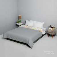 King Rabbit Bed Cover Single Motif Bambu Abu Uk 140x230 cm