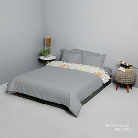 King Rabbit Set Bed Cover & Sprei Sarung Bantal Queen Motif Bambu Abu Uk 160x200x40 cm