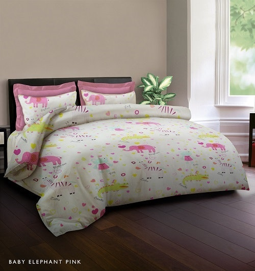 King Rabbit Set Sprei Baby Elephant Pink 180X200cm