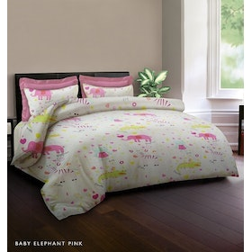 King Rabbit Set Sprei Baby Elephant Pink 180x200x40cm