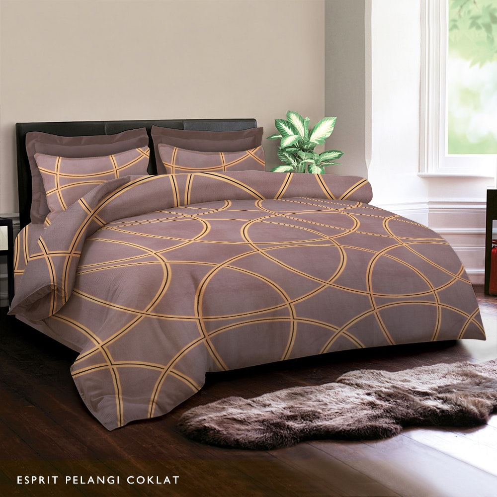 King Rabbit Esprit Pelangi Cokelat Bed Cover 230X230CM
