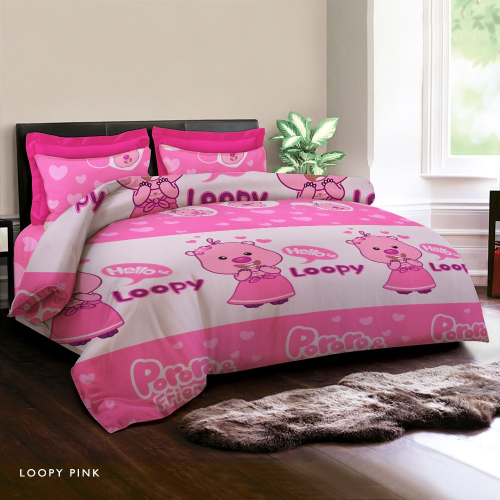 King Rabbit Loopy Pink Bed Cover 230X230CM