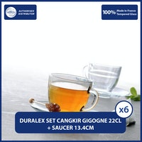 Duralex Cangkir dan Tatakan Lys Gigogne Cup 220ml and Saucer 13.5cm Set of 6
