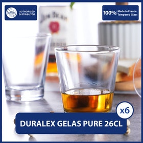 Duralex Gelas Minum Pure 260ml 9 1/8oz (Tempered Glass) - Set of 6pcs