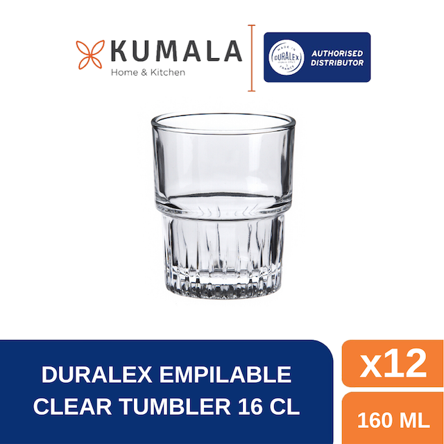 Duralex Empilable Clear Tumbler 16 cl ( Tempered Glass ) - Set of 12 pcs