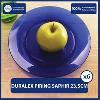 Duralex Piring Makan Lys Saphir 23.5cm ( Tempered Glass ) - Set of 6