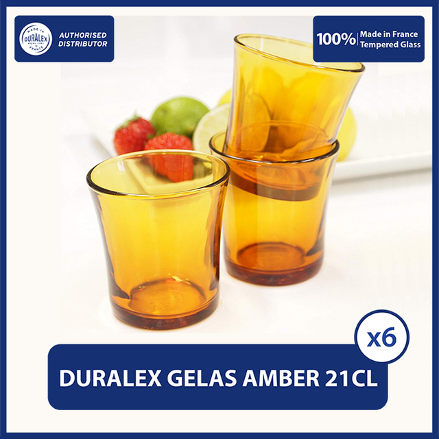 Duralex Amber Gelas Minum Jaman Dulu 210 ml ( Tempered Glass ) - Set of 12