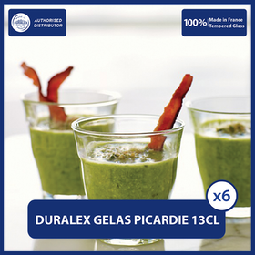Duralex Picardie Gelas Latte, Coffee 130ml Set of 6 -Tempered Glass