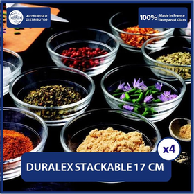 Duralex Mangkok Stackable 17 cm ( Tempered Glass ) - Set of 4 pcs