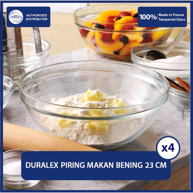 Duralex Mangkok / Piring Stackable Bowl 23 cm (Set of 4 pcs)