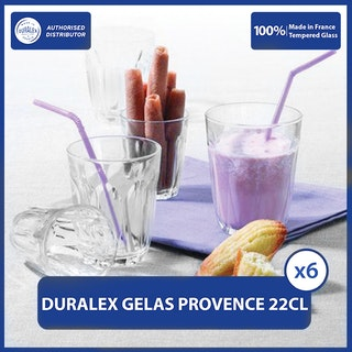 Duralex Gelas Kopi Provence 220 ml (Tempered Glass) - Set of 6