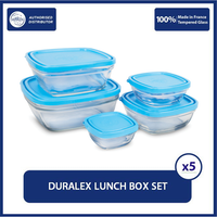 Duralex Tempat Makan Lunch Box Clear Set 5 Pcs (Tempered Glass)