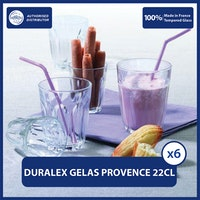Duralex Gelas Coffee Latte Provence Clear Tumbler 220ml / 7 3/4oz (Tempered Glass) - isi 6 pcs