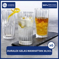 Duralex Gelas Jus Manhattan Clear Tumbler 305ml / 10oz (Tempered Glass) - isi 6 pcs