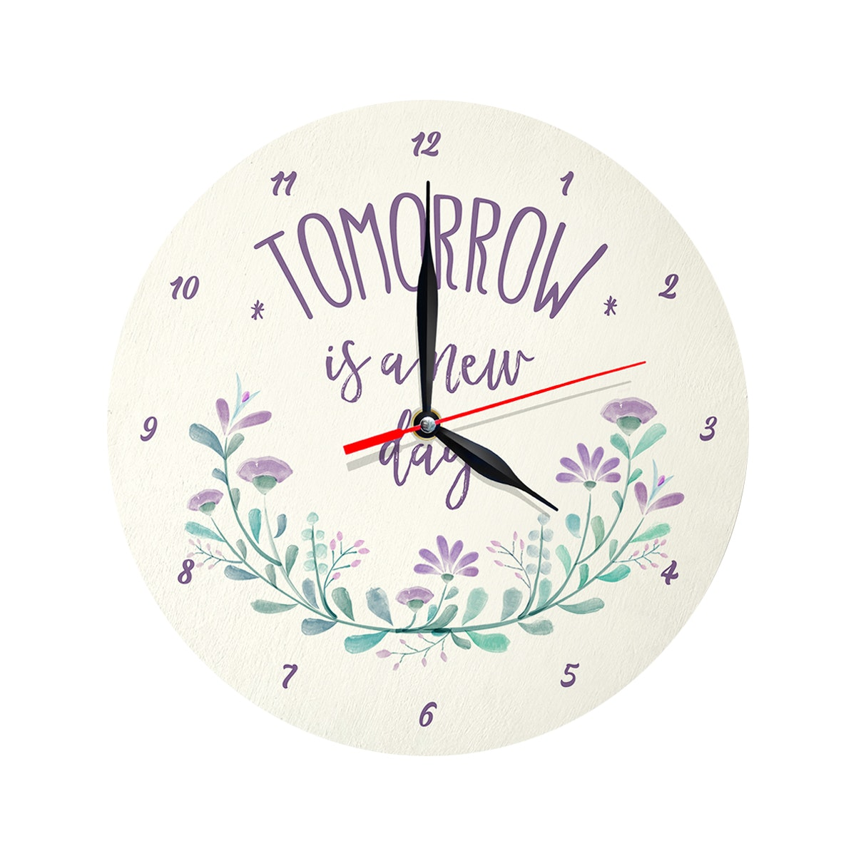 Kayugraphy Jam Dinding Wall Clock  Tomorrow Is A New Day 30x30 cm JB036