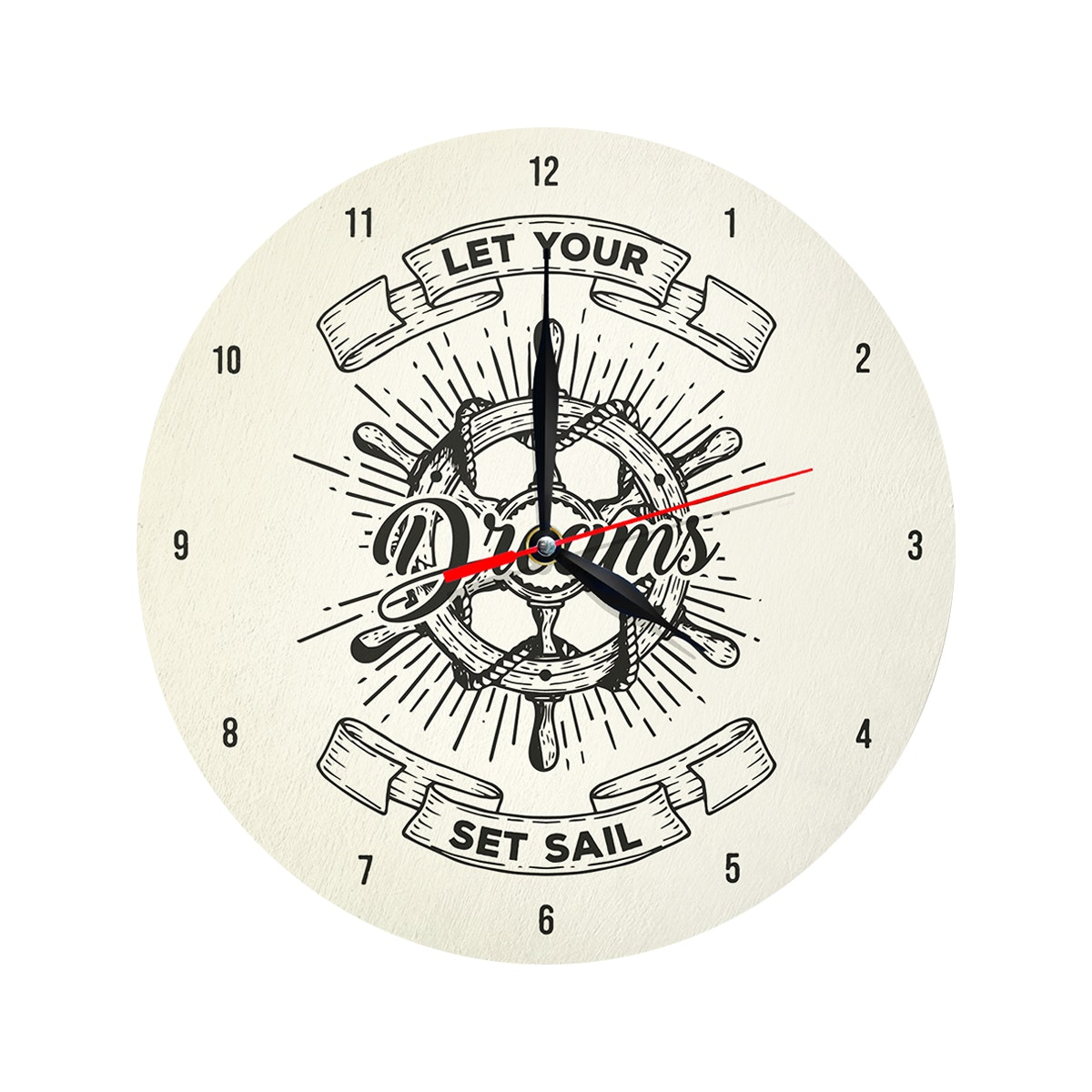 Kayugraphy Jam Dinding Wall Clock Let Your Dreams Set Sail 30x30 cm JB037