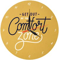 Kayugraphy Jam Dinding Wall Clock Get Out Comfort Zone 30x30 cm JB057