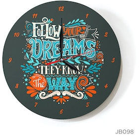 Kayugraphy Jam Dinding Wall Clock Follow Your Dreams 30x30 cm JB098