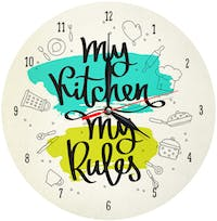 Kayugraphy Jam Dinding Wall Clock My Kitchen My Rules 30x30 cm JB102