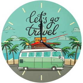 Kayugraphy Jam Dinding Wall Clock Let's Go Travel 30x30 cm JB108