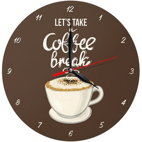 Kayugraphy Jam Dinding Wall Clock Take Coffee Break 30x30 cm JB132