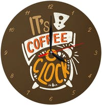Kayugraphy Jam Dinding Wall Clock Coffee O Clock 30x30 cm JB134