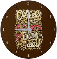 Kayugraphy Jam Dinding Wall Clock Coffee Is Good Idea 30x30 cm JB143
