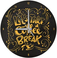Kayugraphy Jam Dinding Wall Clock Let's Take Coffee Break 30x30 cm JB146