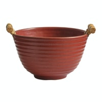 Lumosh Small Korean Wooden Ceramic Bowl Merah