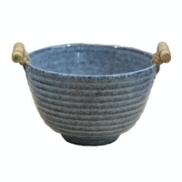 Lumosh Small Korean Wooden Ceramic Bowl Biru
