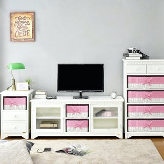Livien Meja TV Mooi Glass Dresser Pink