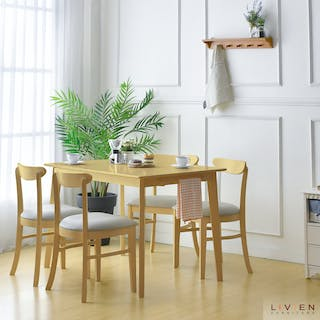 Livien Nora Dining Set Type 3 Maple (Meja + 4 Kursi)