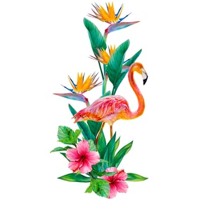 Painterous Wall Decal Graceful Flamingo 1807 100X60