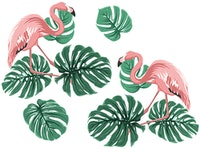 Painterous Wall Decal Monstera Flamingo 1809 100X80
