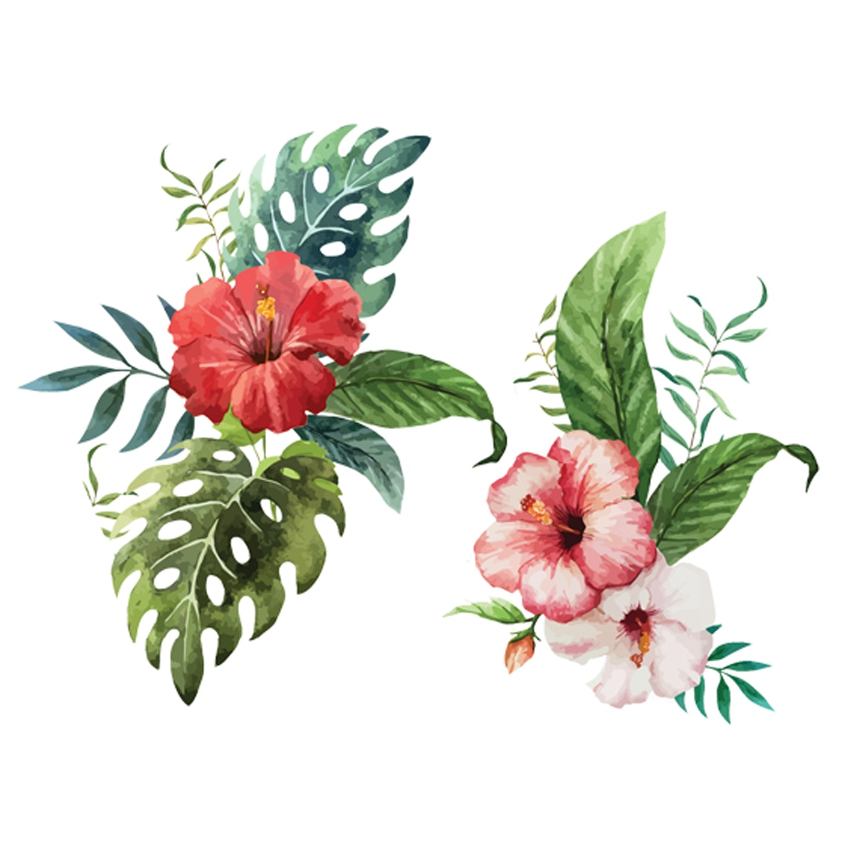 Painterous Wall Decal Tropical Hibiscus 1814 120X80