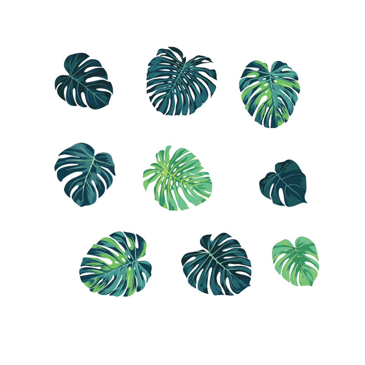Painterous Wall Decal Teal Monstera 1816 100X90