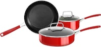 KitchenAid 5 Pcs Aluminium Non-Stick Cookware Empire Red