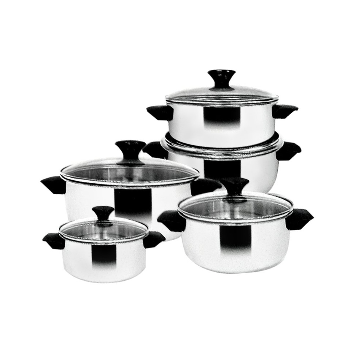 Maspion Dahlia Set SS-P182 (14, 16, 18, 20, 22cm Dutch Oven with Glass Cover)