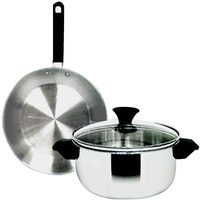 Maspion Panda Fit B Set SS-P147 (18cm Dutch Oven with Glass Cover + 20cm Frypan)