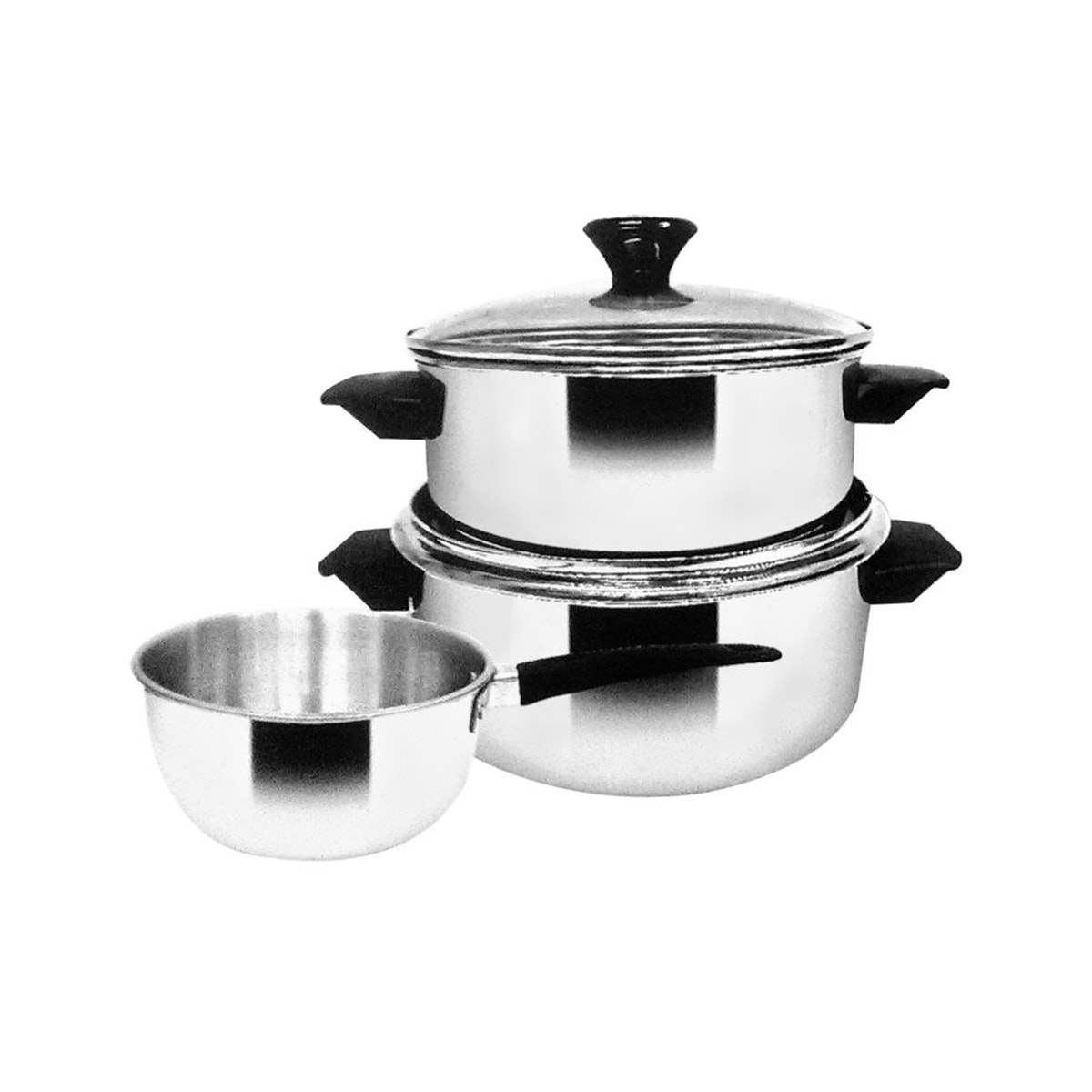 Maspion Panda Lily Set SS-P153 (16cm Saucepan + 18cm & 20cm Dutch Oven with Glass Cover)